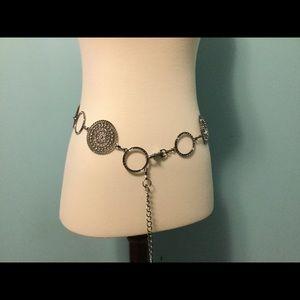 Accessories - Metal filigree and crystal studded adjustable belt
